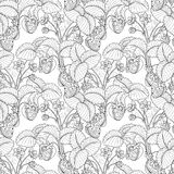 Vector Seamless Monochrome Fruit Pattern Royalty Free Stock Photos