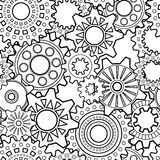 Vector Seamless Monochrome Gear Pattern Stock Image