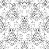 Vector Seamless Monochrome Ornate Pattern Stock Photos
