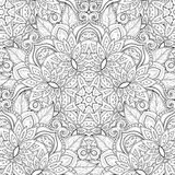 Vector Seamless Monochrome Ornate Pattern Stock Images