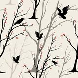 Vector seamless monochrome pattern with birds, ravens,. Black and white background, design for fabric, textile, or wrapping Royalty Free Stock Photography