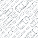 Vector seamless monochrome pattern with outline cars. Stock Image