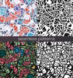 Vector seamless mosaic pattern set. Broken glass. Abstract mosaic pattern stock illustration