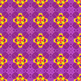 Vector seamless multi-collor flowers background. And geometric pattern on blue Royalty Free Stock Photography