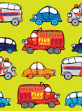 Vector seamless multicolor cars. Pattern Stock Image