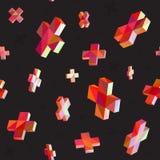 Vector Seamless Multicolor Cross Shape Dimensional Jumble Pattern royalty free illustration