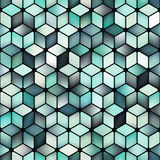 Vector Seamless Multicolor Gradient Cube Shape Rhombus Grid Geometric Pattern Stock Images