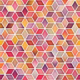 Vector Seamless Multicolor Gradient Cube Shape Rhombus Grid Geometric Pattern Royalty Free Stock Photo