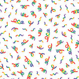 Vector Seamless Multicolor Memphis Style Confetti Lines Jumble Pattern. Abstract Festive Background Design Royalty Free Stock Images