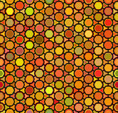 Vector Seamless Multicolor Orange Shades Rounded Hexagon Honeycomb Line Connected Grid Pattern Royalty Free Stock Images