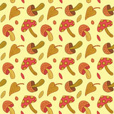 Vector seamless mushroom leaves pattern. Autumn leaf background. Stock Images