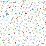 Vector seamless music pattern. Doodles various music notes on white background. Music outlined symbols and silhouettes Stock Images