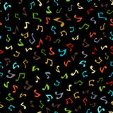 Vector seamless music pattern. Various music notes on black background. Colourful boundless background Stock Photos