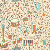 Vector seamless musical pattern, hand drawn. Vector design elements: notes and musical instruments, lifestyle and music. Music background Royalty Free Stock Photography