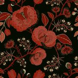 Vector seamless nature pattern. Background with big decorative flowers. Dark floral pattern. Gothic style Stock Image