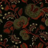 Vector seamless nature pattern. Background with big decorative flowers. Dark floral pattern. Gothic style Stock Photo