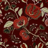 Vector seamless nature pattern. Background with big decorative flowers. Dark floral pattern. Gothic style Stock Images