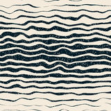 Vector Seamless Navy White Horizontal Hand Drawn Distorted Lines Retro Grunge Pattern Royalty Free Stock Photography