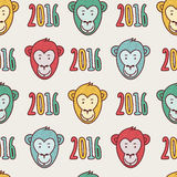 Vector seamless New Year hand drawn pattern. Multicolor smiling monkey face and numbers 2016 Stock Photo