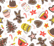 Vector seamless new year pattern with traditional yummy Christmas desserts. Royalty Free Stock Image