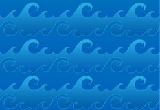 Vector seamless ocean waves pattern. Repeating background with wavy sea. Wave bands in different shades of blue. EPS 10 vector file Stock Photos