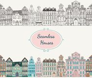 Vector Seamless Old Styled Houses. Colorful Vintage Old Styled Hand Drawn Doodle Seamless Houses. Vector Illustration royalty free illustration