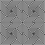 Vector Seamless Optical Maze. Vector optical maze pattern in black and white. Can be used as is or seamlessly tiled for a background stock illustration