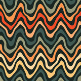 Vector Seamless Orange Navy Colors Rounded Rough Hand Painted Wavy Stripe Lines Pattern on Dark Background Royalty Free Stock Photo