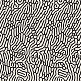 Vector Seamless  Organic Rounded Line Maze Coral Pattern. Vector Seamless Black and White Wavy Organic Rounded Line Maze Coral Pattern Abstract Background Stock Image