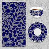 Vector seamless orient pattern with cup and plate. russian desig Royalty Free Stock Photo
