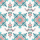 Vector  seamless  ornament pattern with elements of flowers and Stock Photo