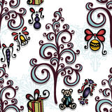Vector Seamless Ornate Winter Pattern Stock Photography