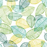 Vector seamless outline leaves pattern. Green and white. Spring background made with watercolor, ink and marker. Trendy scandinavian design for fashion textile Royalty Free Stock Photography