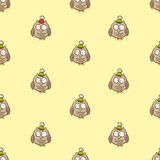 Vector seamless owl pattern. Can be used for Christmas or New Year pachaging, cards Stock Photo