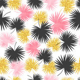 Vector seamless palm leaves pattern. Tropical background Royalty Free Stock Image