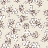 Vector seamless pastel colored pattern with linear bee and honeycombs. Organic honey background. Royalty Free Stock Image