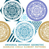 Vector seamless patchwork background from dark blue and white ornaments, geometric patterns,. Art Stock Illustration