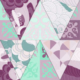 Vector seamless patchwork pattern. oriental or russian design Royalty Free Stock Photos