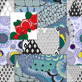 Vector seamless patchwork pattern. oriental or russian design Royalty Free Stock Images