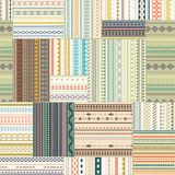 Vector seamless patchwork pattern. Vintage ethnic tribal seamles. S texture. Striped vintage boho style. Pattern stored in the palette swatches royalty free illustration