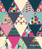 Vector seamless patchwork style geometric pattern Stock Images