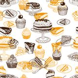 Vector seamless patten with party pastry and Royalty Free Stock Images