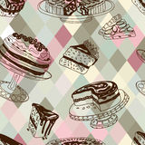 Vector seamless patten with party pastry and Stock Image