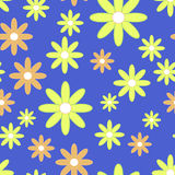 Vector seamless patter with plane flowers. Royalty Free Stock Photo