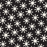 Vector seamless pattern. Abstract background with floral brush strokes. Monochrome hand drawn texture. Vector seamless freehand pattern. Abstract background with Royalty Free Stock Photography