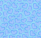Vector seamless pattern with abstract blue hearts. Endless texture Stock Image