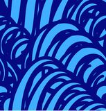 Vector seamless pattern with abstract blue waves. Royalty Free Stock Image