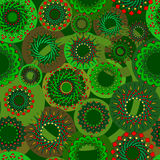 Vector seamless pattern. Abstract seamless pattern with circles shades of green with splashes of red on dark background. Vector pattern Royalty Free Stock Image