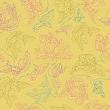 Vector seamless pattern  with abstract flowers. Yellow backdrop. Could be used as seamless wallpaper, textile, wrapping paper or background Royalty Free Stock Image