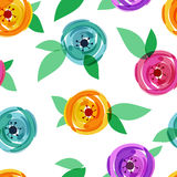 Vector seamless pattern with abstract multicolor rose flower and. Green leaves. Floral summer background illustration Royalty Free Stock Photography